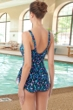 Chlorine Resistant Hydrofinity Gabar Black Galaxy Stripe D-Cup Square Neck Sarong One Piece Swimsuit