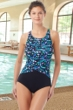 Chlorine Resistant Hydrofinity Gabar Black Galaxy Stripe C-Cup High Neck One Piece Swimsuit