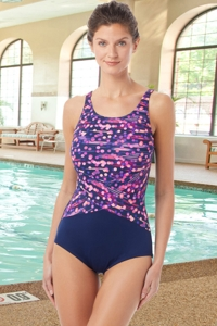 Chlorine Resistant Hydrofinity Gabar Navy Galaxy Stripe C-Cup High Neck One Piece Swimsuit