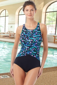 Chlorine Resistant Hydrofinity Gabar Black Galaxy Stripe D-Cup High Neck One Piece Swimsuit