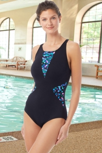 Chlorine Resistant Hydrofinity Gabar Black Galaxy Stripe High Neck One Piece Swimsuit