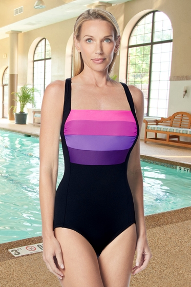 Gabar Hydrofinity Chlorine Resistant Pink Ocean Ombre Square Neck C-Cup One Piece Swimsuit
