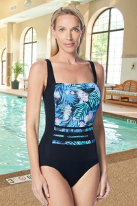 Gabar Hydrofinity Chlorine Resistant Ti Leaf Stripe Square Neck C-Cup One Piece Swimsuit