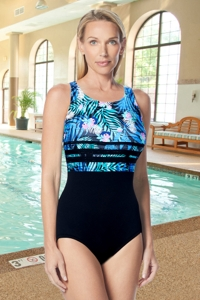Gabar Hydrofinity Chlorine Resistant Ti Leaf Stripe High Neck D-Cup One Piece Swimsuit