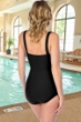 Chlorine Resistant Maxine Textured Spa Black Wide Strap Side Tie Sarong One Piece Swimsuit