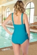 Chlorine Resistant Maxine Textured Spa Emerald Wide Strap Side Tie Sarong One Piece Swimsuit