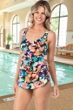 Chlorine Resistant Maxine Blossom Wide Strap Side Tie Sarong One Piece Swimsuit