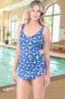 Chlorine Resistant Maxine Prismatic Wide Strap Side Tie Sarong One Piece Swimsuit