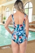 Chlorine Resistant Maxine Palmetto Wide Strap Side Tie Sarong One Piece Swimsuit