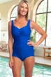 Chlorine Resistant Maxine of Hollywood Textured Cobalt Shirred Girl Leg One Piece Swimsuit