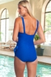 Chlorine Resistant Maxine of Hollywood Textured Cobalt Wide Strap Tie Side Sarong One Piece Swimsuit