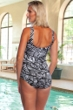 Chlorine Resistant Maxine of Hollywood Palm Shirred Girl Leg One Piece Swimsuit