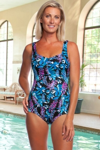 Chlorine Resistant Maxine of Hollywood Prairie Dreams Shirred Girl Leg One Piece Swimsuit