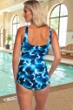 Chlorine Resistant Maxine of Hollywood Stormy Center Shirred Girl Leg One Piece Swimsuit