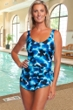 Chlorine Resistant Maxine of Hollywood Stormy Wide Strap Tie Side Sarong One Piece Swimsuit