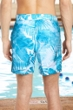 "Chlorine Resistant US Apparel Distressed Floral Blue 9"" Inseam Mesh Liner Men's Swim Trunks with Pockets"