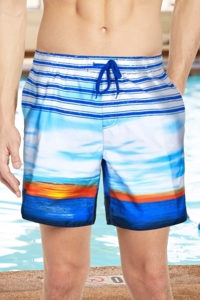 "Chlorine Resistant US Apparel Sun Stripe Navy 9"" Inseam Mesh Liner Men's Swim Trunks with Pockets"