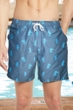 "Chlorine Resistant US Apparel Palm Island Grey 7"" Inseam Mesh Liner Men's Swim Trunks with Pockets"
