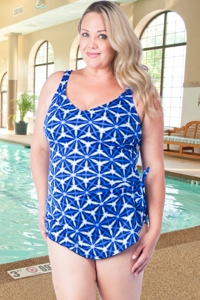 Chlorine Resistant Maxine Plus Size Prismatic Wide Strap Side Tie Sarong One Piece Swimsuit
