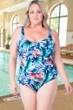 Chlorine Resistant Maxine Plus Size Palmetto Shirred Front Girl Leg One Piece Swimsuit