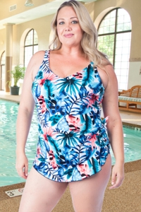 Chlorine Resistant Maxine Plus Size Palmetto Wide Strap Side Tie Sarong One Piece Swimsuit