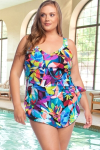 Chlorine Resistant Maxine of Hollywood Fiesta Plus Size Wide Strap Tie Side Sarong One Piece Swimsuit