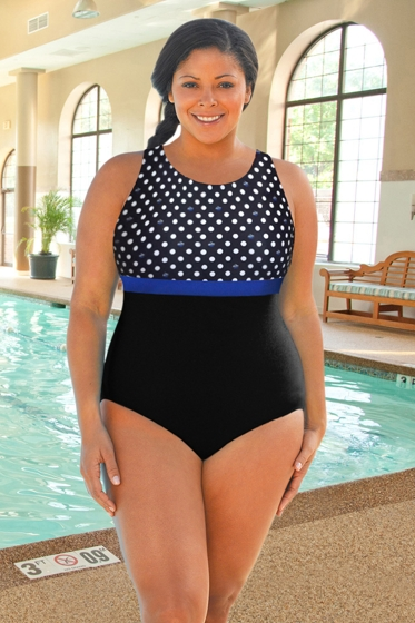 Chlorine Resistant Aquamore Swimmer Dot Blue and Black Plus Size Print Block High Neck One Piece Swimsuit