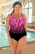 Chlorine Resistant Aquamore Pink Flower Rain Plus Size Scoop Neck One Piece Swimsuit