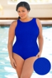 Aquamore Chlorine Resistant Plus Size High Neck One Piece Textured Swimsuit