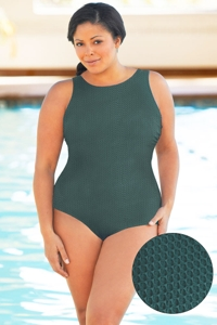 Aquatex by Aquamore Chlorine Resistant Hunter Plus Size High Neck One Piece Textured Swimsuit