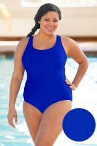 Aquamore Chlorine Resistant Azure Plus Size Scoop Neck One Piece Textured Swimsuit