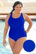 Aquatex by Aquamore Chlorine Resistant Azure Plus Size Scoop Neck One Piece Textured Swimsuit