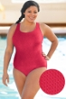 Aquamore Chlorine Resistant Raspberry Plus Size Scoop Neck One Piece Textured Swimsuit