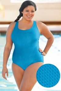 Aquatex by Aquamore Chlorine Resistant Sea Plus Size Scoop Neck One Piece Textured Swimsuit