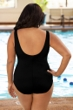 Chlorine Resistant Aquamore Black and White Plus Size Spliced Color Block High Neck One Piece Swimsuit