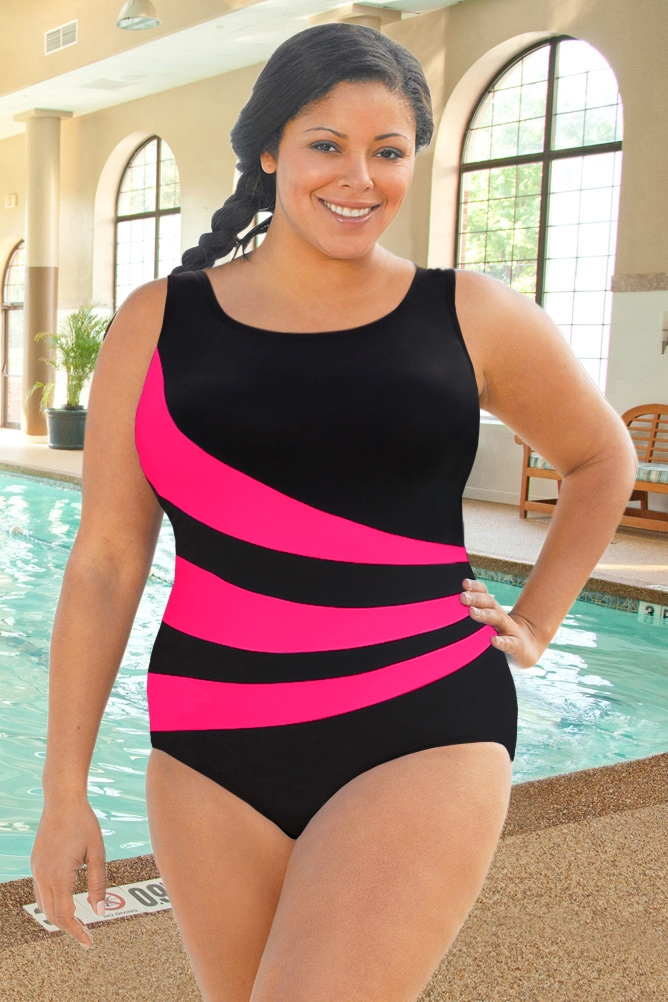Aquamore Chlorine Resistant Pink Scoop Neck One Piece Swimsuit Size 16