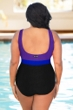Aquatex by Aquamore Chlorine Resistant Purple, Azure and Black Plus Size Color Block High Neck One Piece Textured Swimsuit