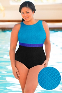 Aquatex by Aquamore Chlorine Resistant Color Block Sea, Azure and Black Plus Size High Neck One Piece Textured Swimsuit