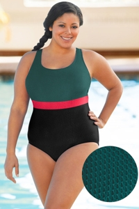 Aquatex by Aquamore Chlorine Resistant Color Block Hunter, Raspberry and Black Plus Size Scoop Neck One Piece Textured Swimsuit