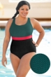 Aquamore Chlorine Resistant Color Block Hunter, Raspberry and Black Plus Size Scoop Neck One Piece Textured Swimsuit