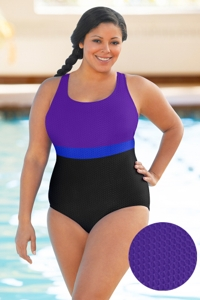 Aquatex by Aquamore Chlorine Resistant Purple, Azure and Black Plus Size Color Block Scoop Neck One Piece Textured Swimsuit