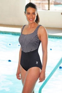 Plus Size Chlorine Resistant TYR Durafast Black Monroe Stripe One Piece Swimsuit
