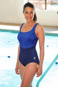 Plus Size Chlorine Resistant TYR Durafast Navy Monroe Stripe One Piece Swimsuit