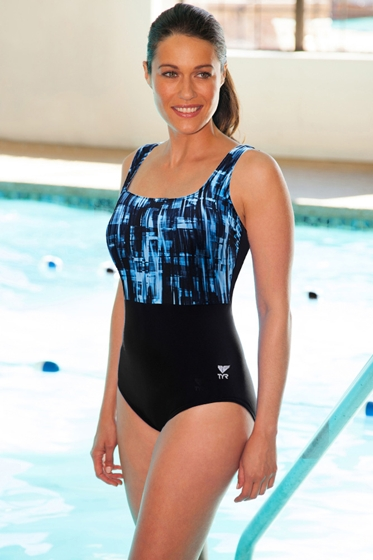 TYR Tremiti Black and Grey Scoop Neck Controlfit Chlorine Resistant One Piece Swimsuit