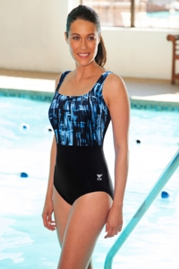 TYR Plus Size Tremiti Black and Grey Scoop Neck Controlfit Chlorine Resistant One Piece Swimsuit