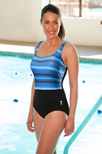 Chlorine Resistant TYR Tramonto Plus Size Black and Grey Scoop Neck Controlfit One Piece Swimsuit