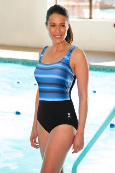 Chlorine Resistant TYR Tramonto Black and Grey Scoop Neck Controlfit One Piece Swimsuit