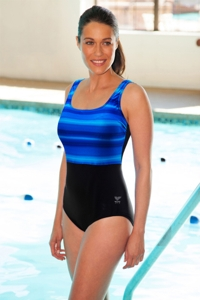 TYR Tramonto Blue Scoop Neck Controlfit Chlorine Resistant One Piece Swimsuit