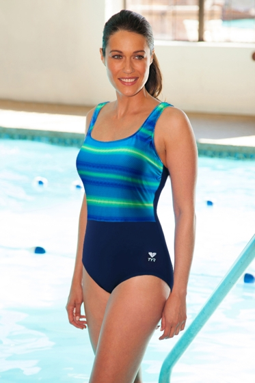 Chlorine Resistant TYR Tramonto Plus Size Blue and Green Scoop Neck Controlfit One Piece Swimsuit