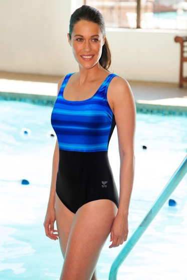 TYR Tramonto Blue Plus Size Scoop Neck Controlfit Chlorine Resistant One Piece Swimsuit